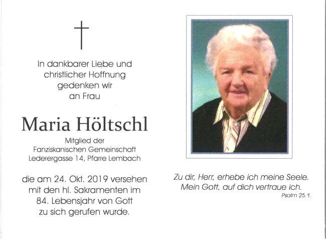 Sterbebild Maria Höltschl