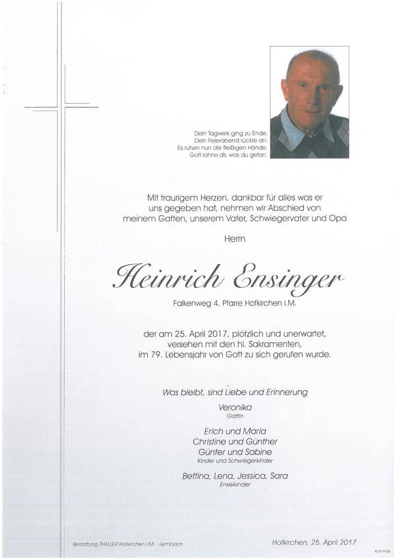 Parte Ensinger Heinrich