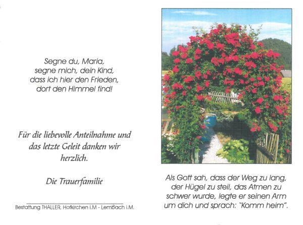 Sterbebild Altendorfer Maria - aussen