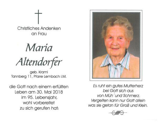 Sterbebild Altendorfer Maria - innen