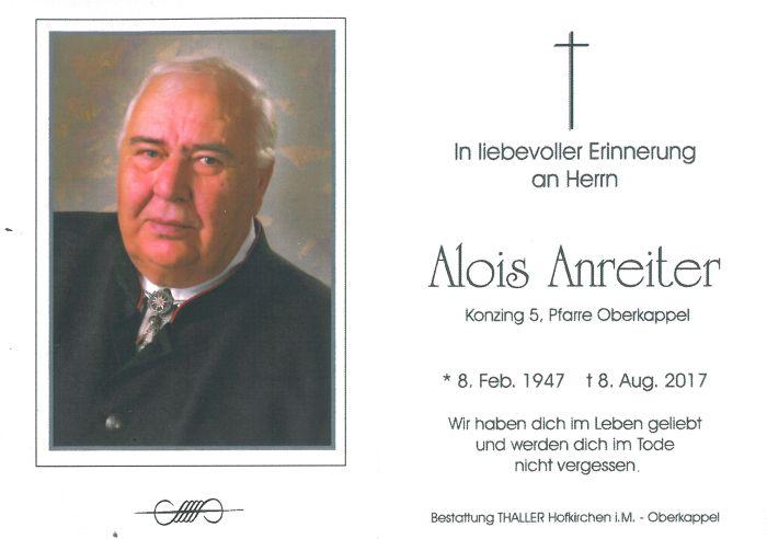 Sterbebild Anreiter Alois