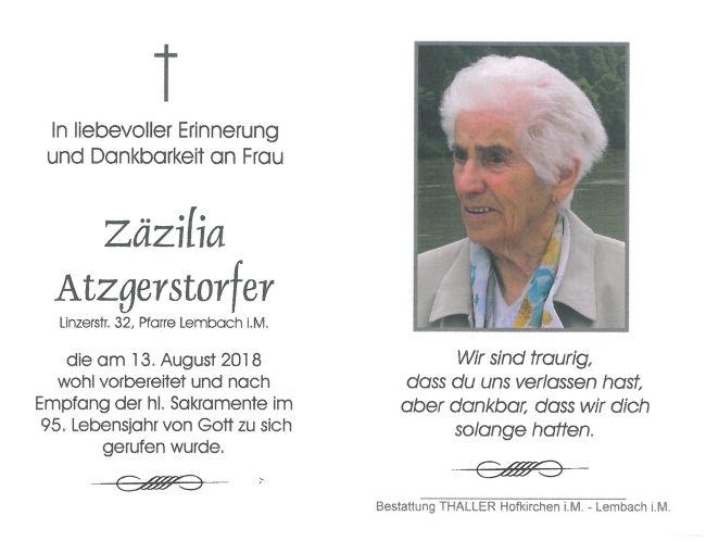 Sterbebild Atzgerstorfer Zäzilia