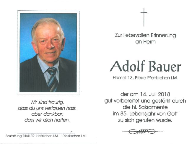 Sterbebild Bauer Adolf