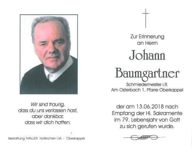 Sterbebild Baumgartner Johann