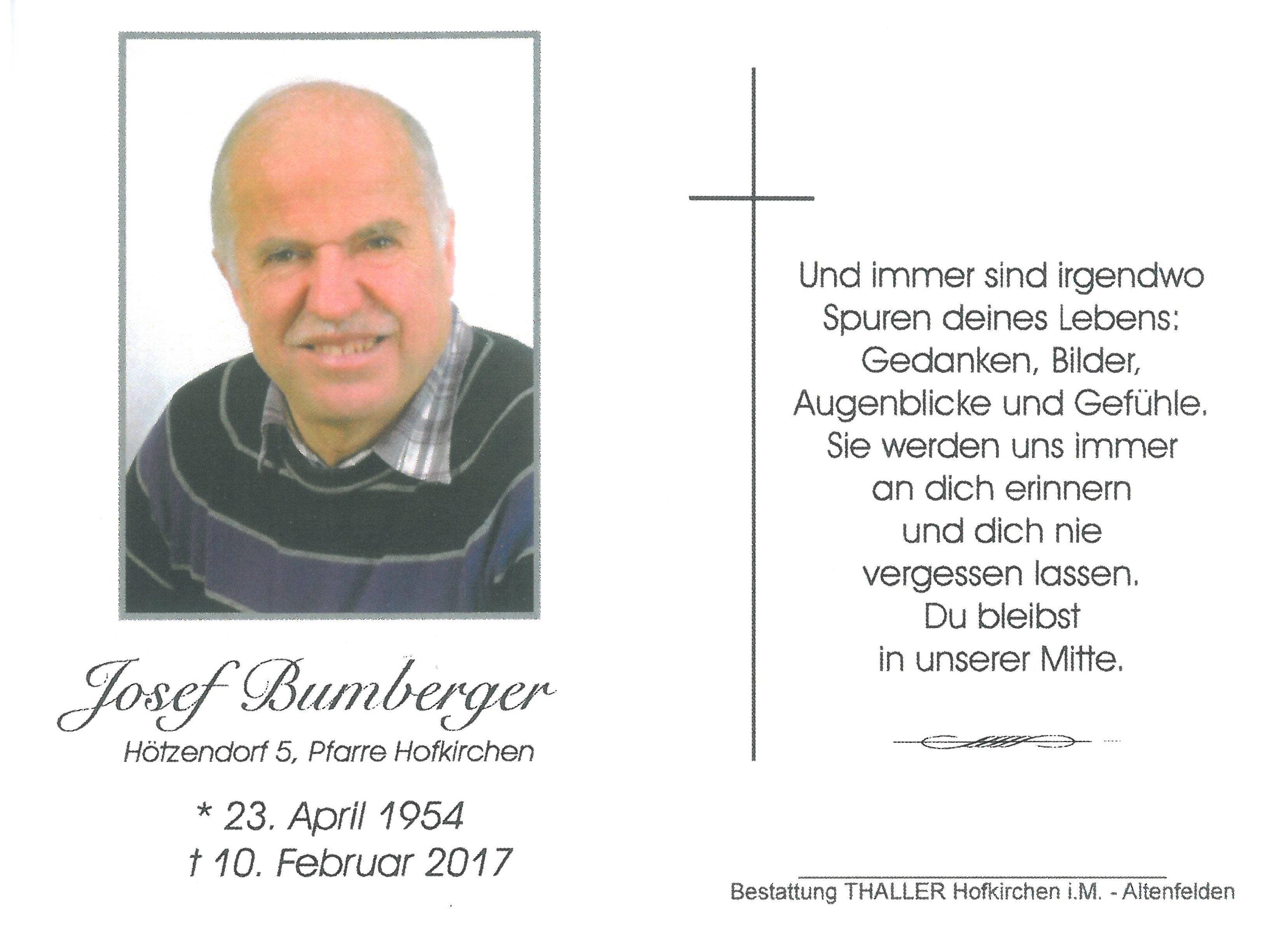 Sterbebild Bumberger Josef