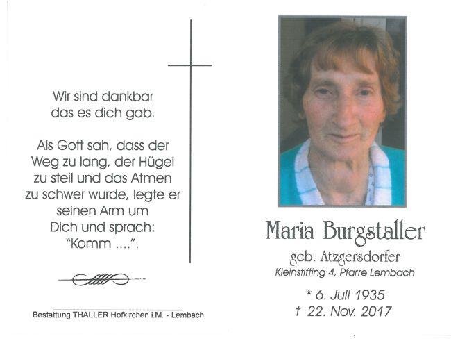 Sterbebild Burgstaller Maria