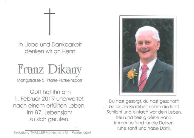 Sterbebild Dikany Franz