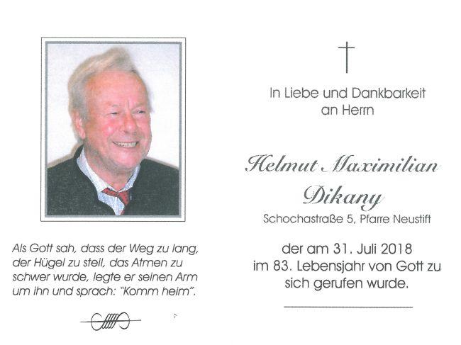 Sterbebild Dikany Helmut Maximilian