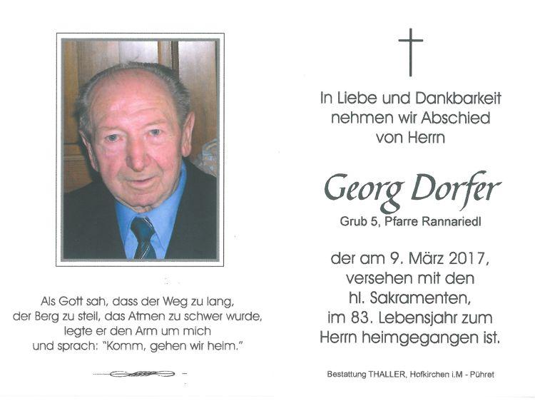 Sterbebild Dorfer Georg