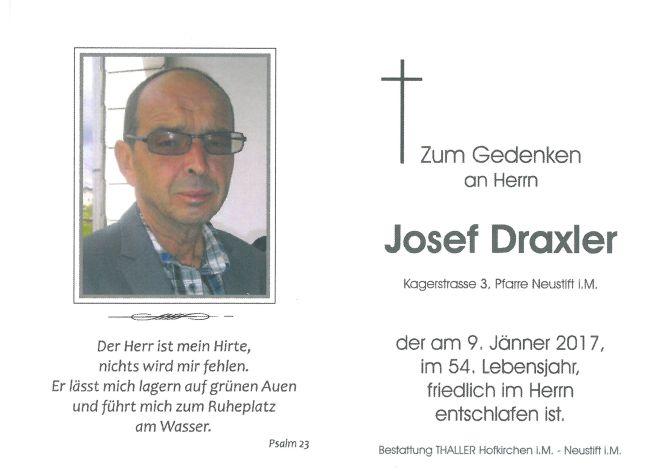 Sterbebild Draxler Josef
