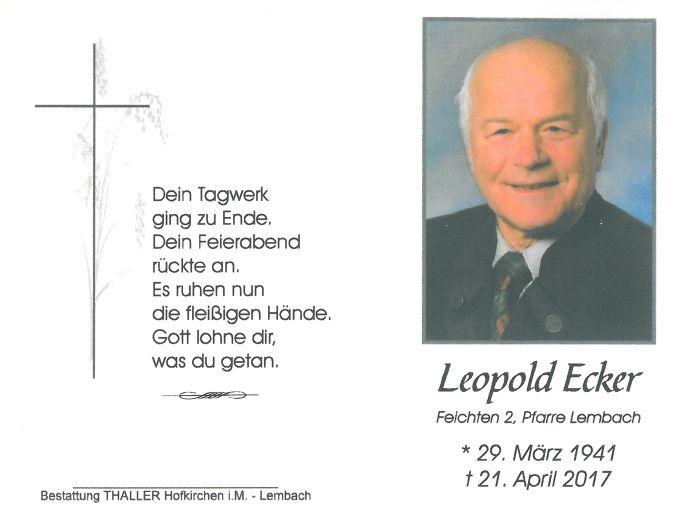 Sterbebild Ecker Leopold