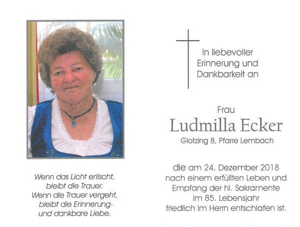 Sterbebild Ecker Ludmilla