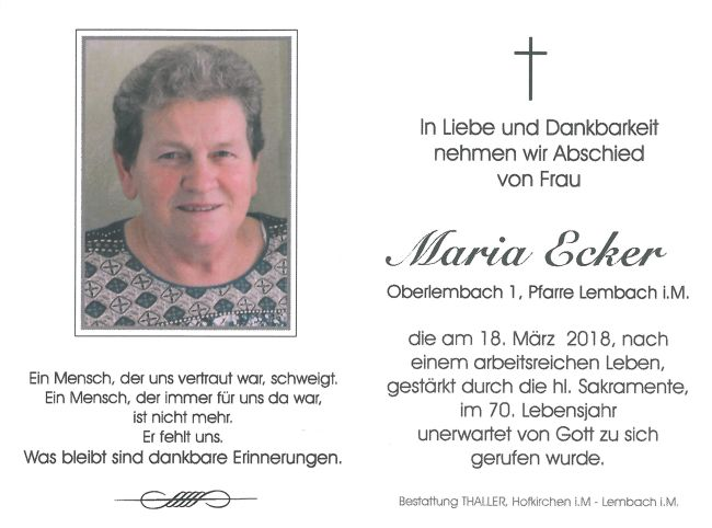 Sterbebild Ecker Maria