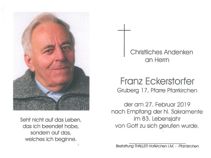 Sterbebild Eckerstorfer Franz