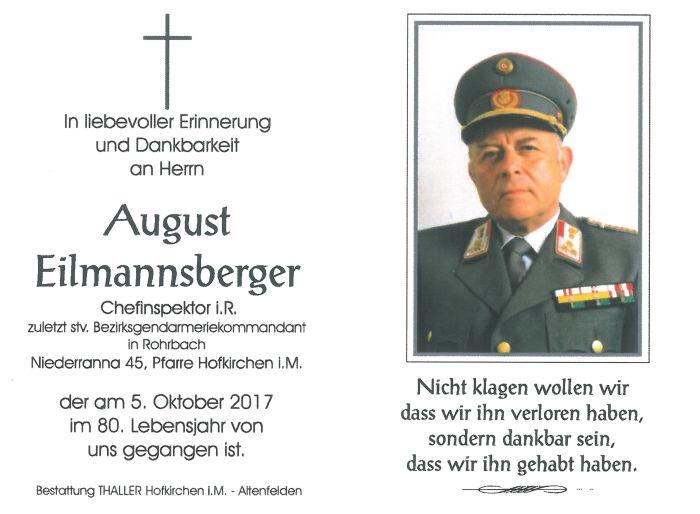 Sterbebild Eilmannsberger August01