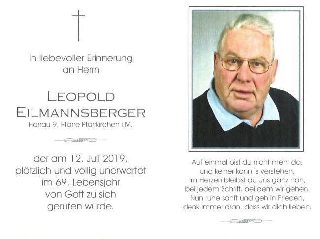Sterbebild Eilmannsberger Leopold