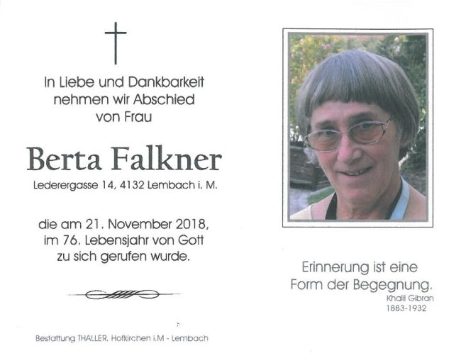 Sterbebild Falkner Berta