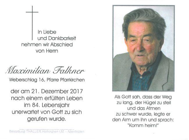 Sterbebild Falkner Maximilian