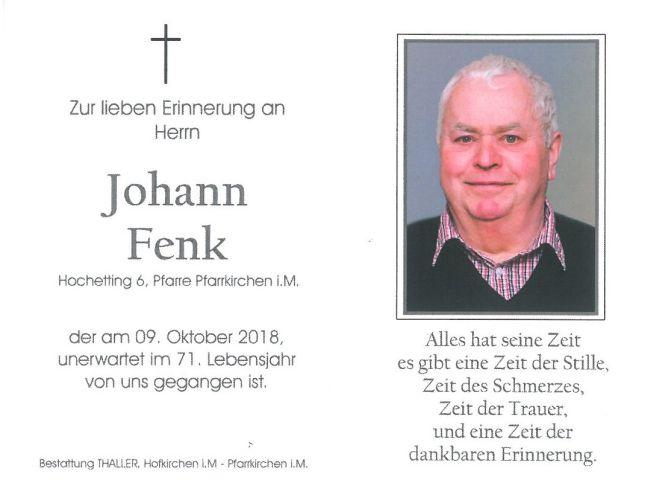 Sterbebild Fenk Johann
