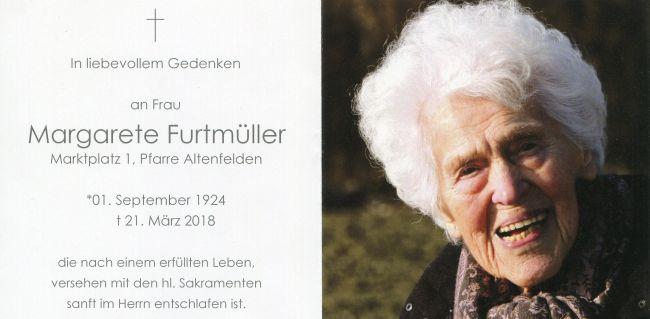 Sterbebild Furtmüller Margarete innen