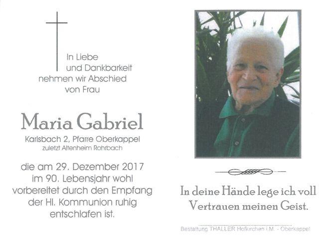 Sterbebild Gabriel Maria