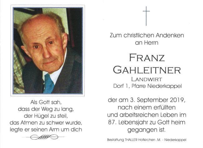 Sterbebild Gahleitner Franz
