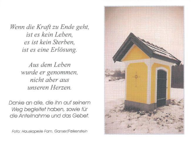 Sterbebild Ganser Franz Kapelle