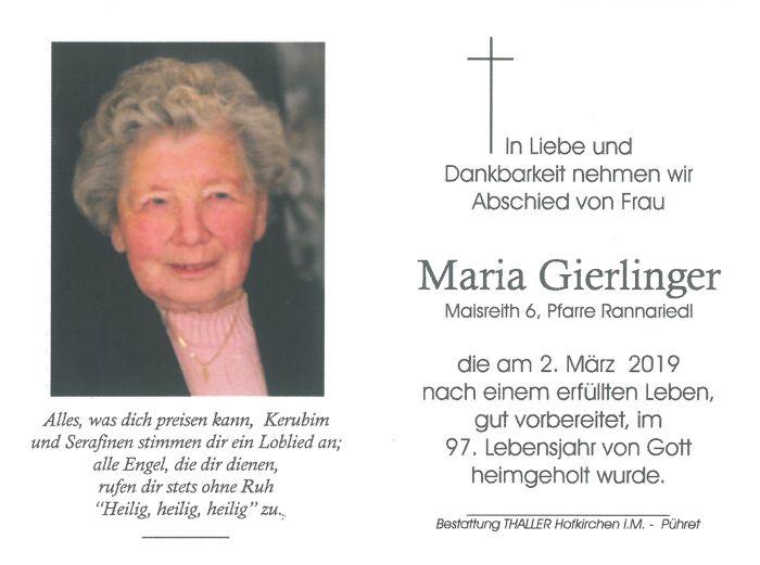 Sterbebild Gierlinger Maria