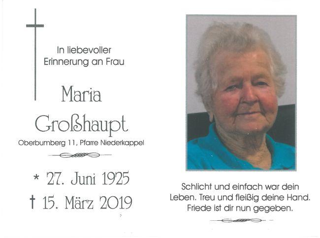 Sterbebild Großhaupt Maria Innen