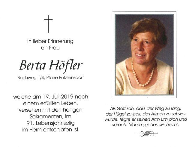 Sterbebild Höfler Berta Innenseite