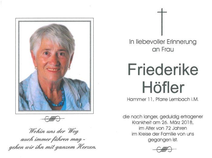 Sterbebild Höfler Friederike