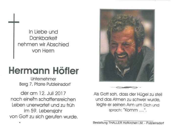 Sterbebild Höfler Hermann