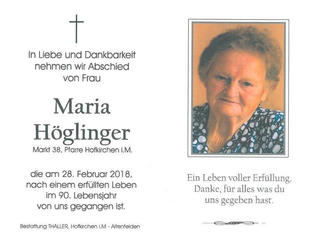 Sterbebild Höglinger Maria