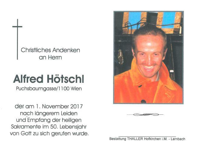 Sterbebild Hötschl Alfred