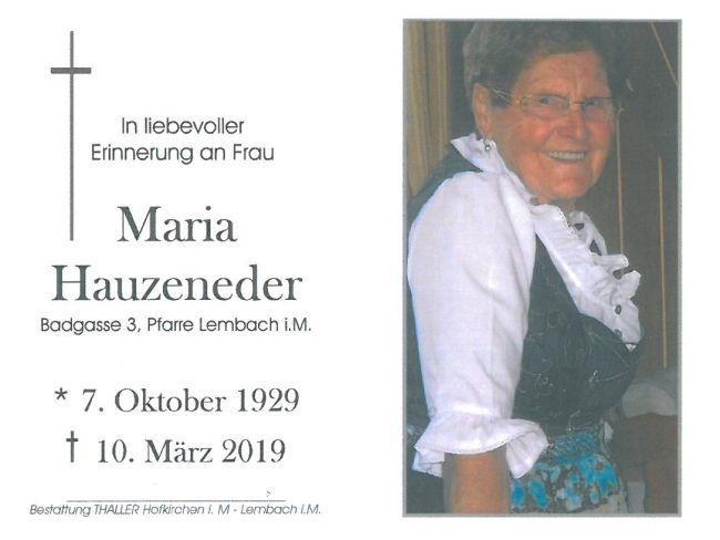Sterbebild Hauzeneder Maria Innenseite