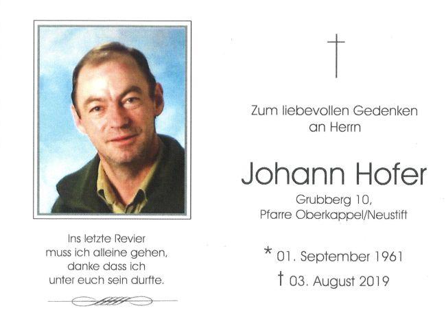 Sterbebild Hofer Johann