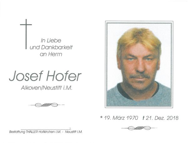 Sterbebild Hofer Josef