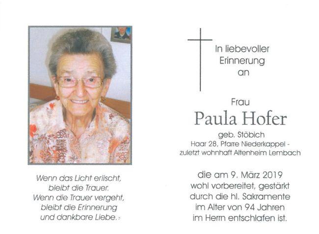 Sterbebild Hofer Paula