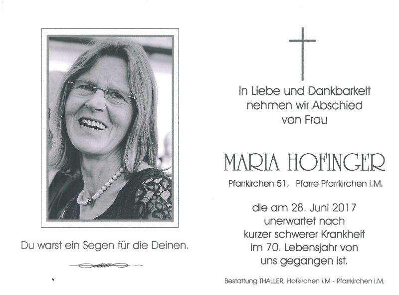 Sterbebild Hofinger Maria