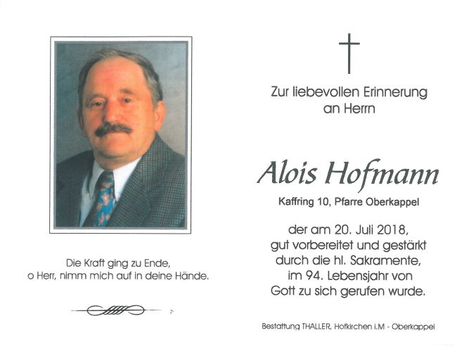 Sterbebild Hofmann Alois
