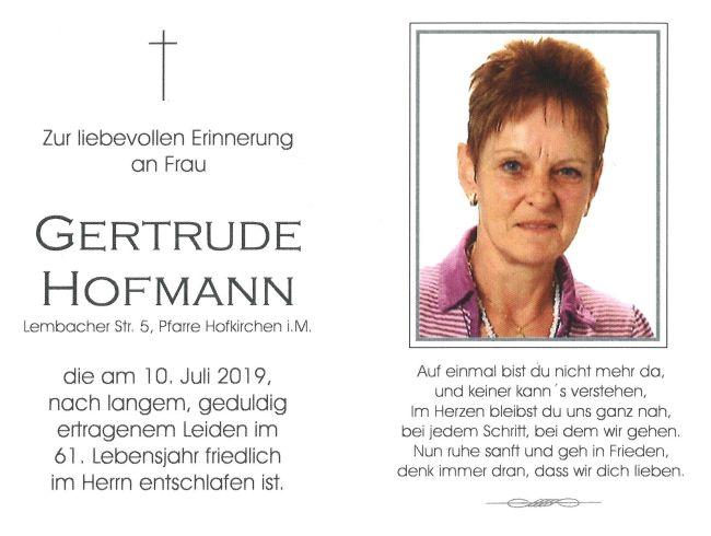 Sterbebild Hofmann Gertrude