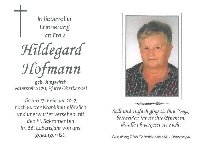 Sterbebild Hofmann Hildegard