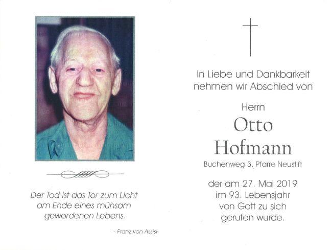 Sterbebild Hofmann Otto