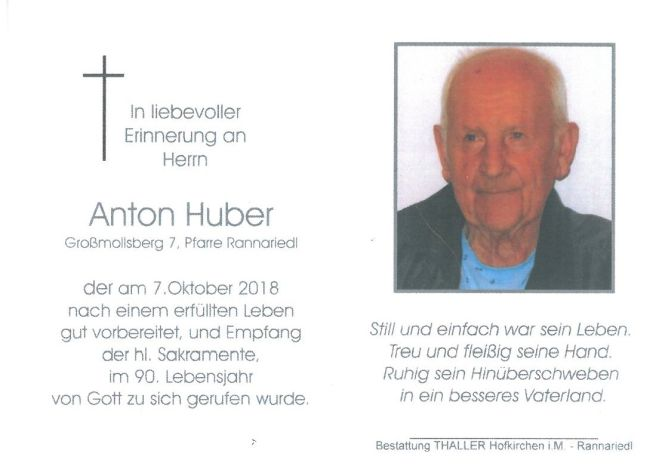 Sterbebild Huber Anton