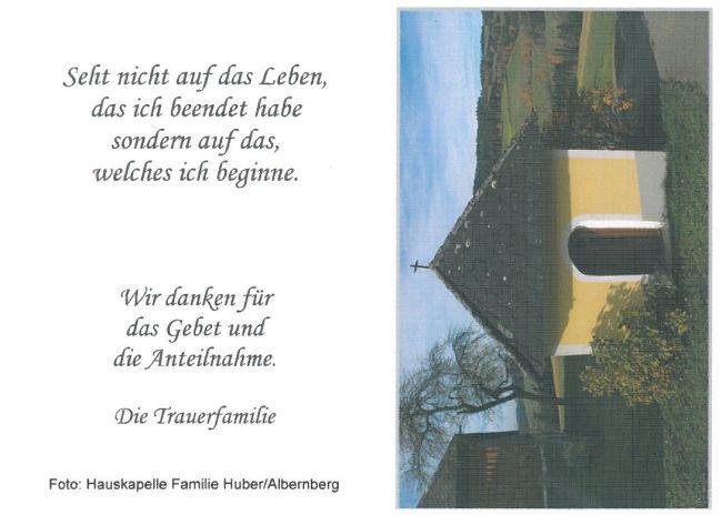 Sterbebild Huber Franz Hauskapelle