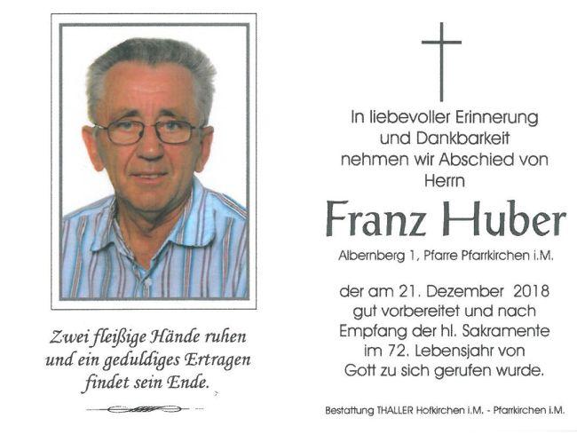 Sterbebild Huber Franz