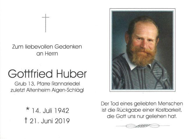 Sterbebild Huber Gottfried