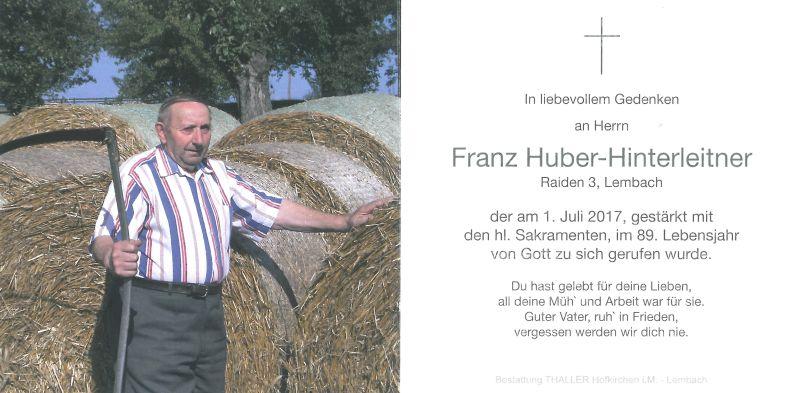 Sterbebild Huber-Hinterleitner Franz