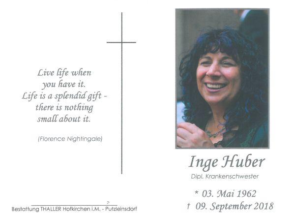 Sterbebild Huber Inge