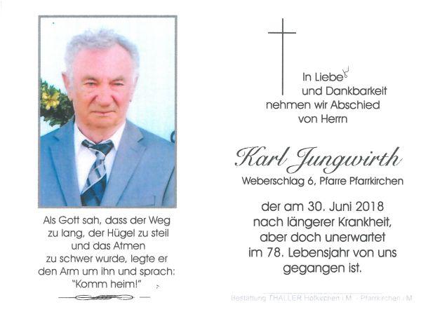 Sterbebild Jungwirth Karl